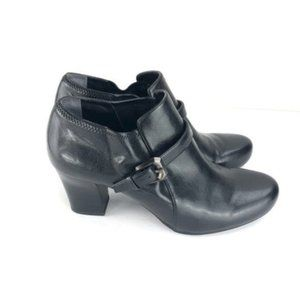Franco Sarto Black Buckle Leather Booties 8.5